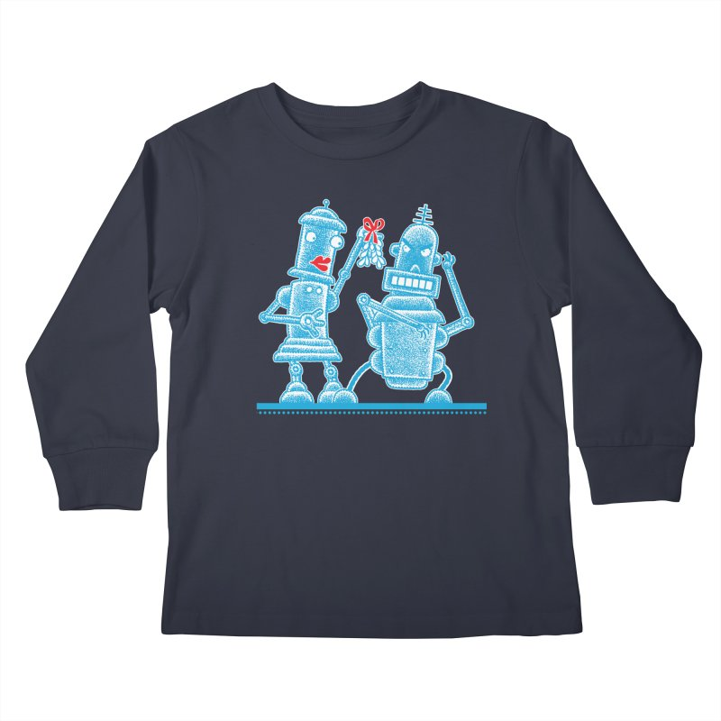 Robots Under Mistletoe Kids Longsleeve T-Shirt by Calamityware