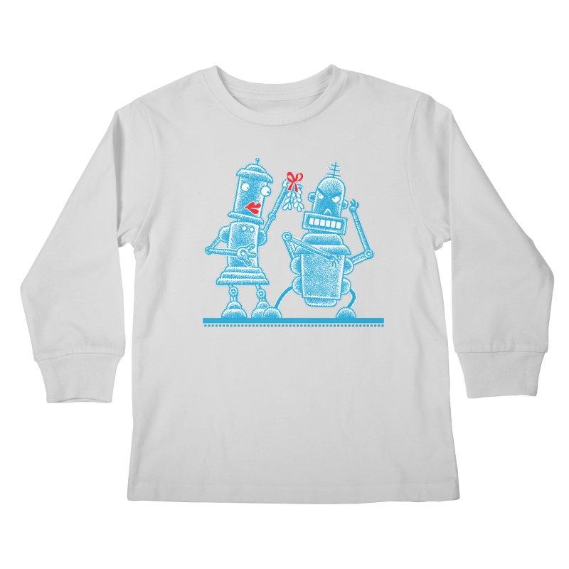 Robots Under Mistletoe Kids Longsleeve T-Shirt by Calamityware
