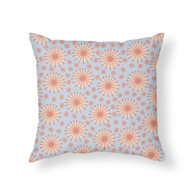 Carousel Blue Retro Home Throw Pillow by Caligráfica