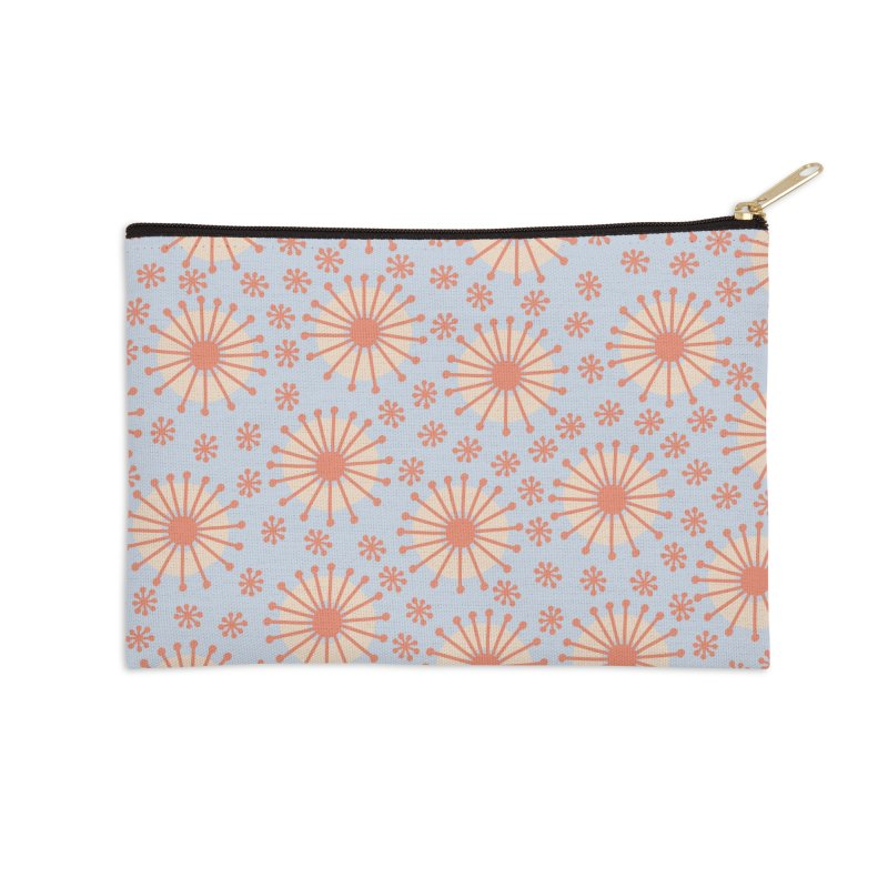 Carousel Blue Retro Accessories Zip Pouch by Caligráfica