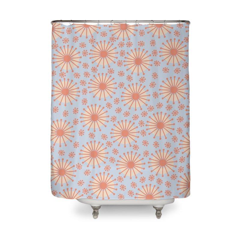 Carousel Blue Retro Home Shower Curtain by Caligráfica