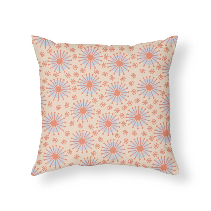 Carousel Retro Blue Home Throw Pillow by Caligráfica