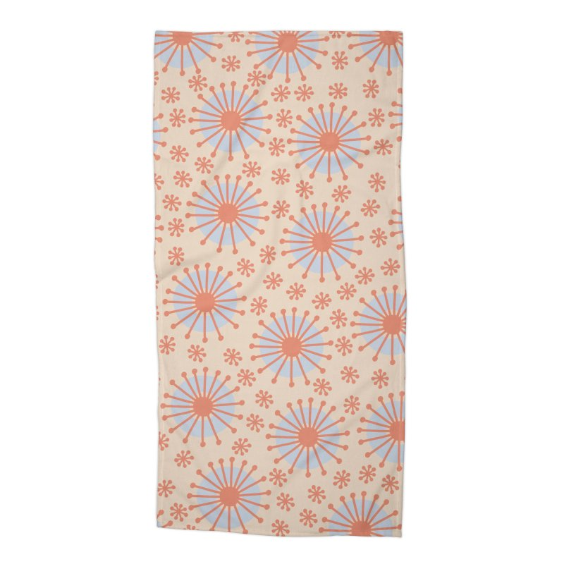 Carousel Retro Blue Accessories Beach Towel by Caligráfica