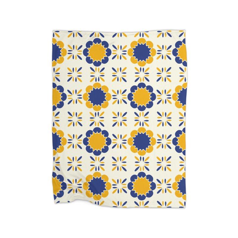 Lisboeta Tile Home Fleece Blanket Blanket by Caligráfica