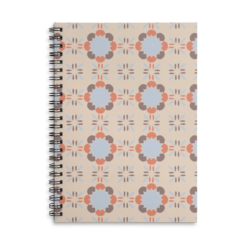 Blue Retro Tile Accessories Lined Spiral Notebook by Caligráfica