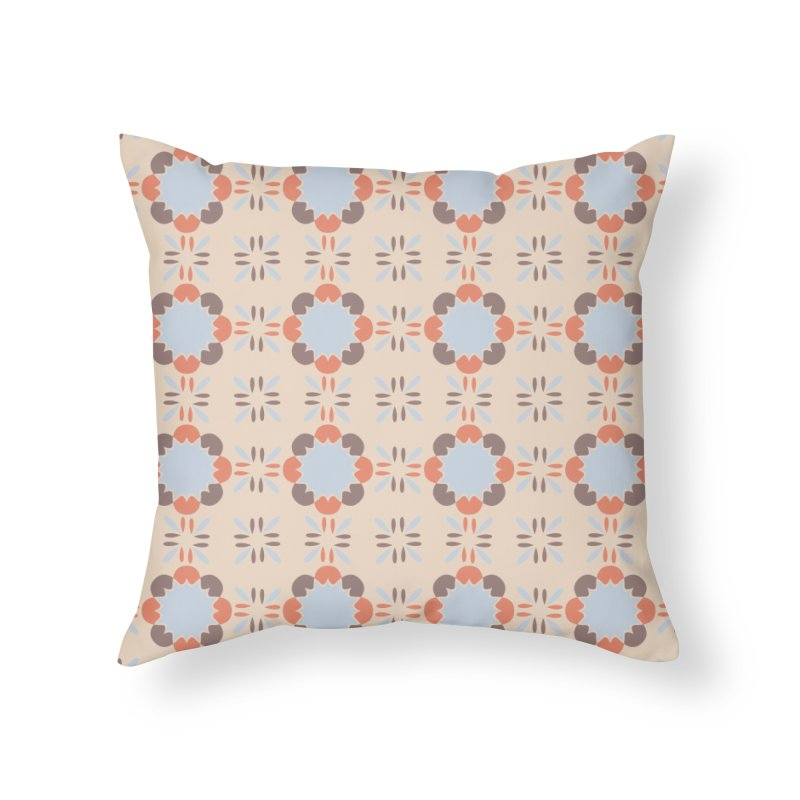 Blue Retro Tile Home Throw Pillow by Caligráfica