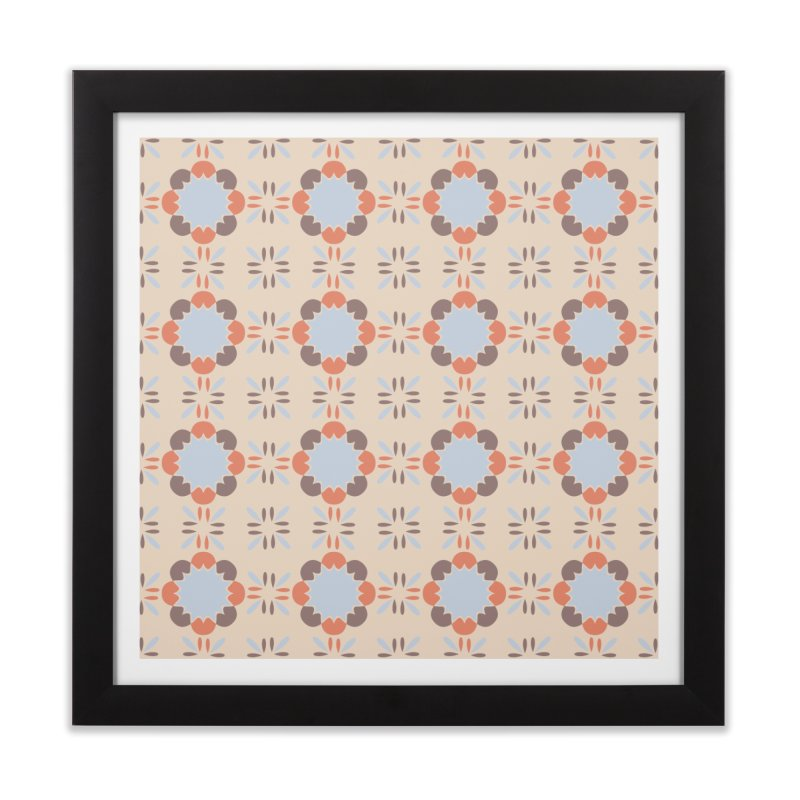 Blue Retro Tile Home Framed Fine Art Print by Caligráfica