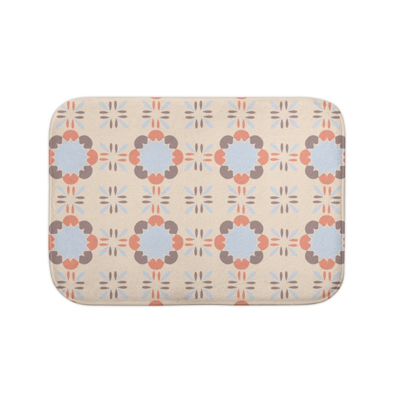 Blue Retro Tile Home Bath Mat by Caligráfica