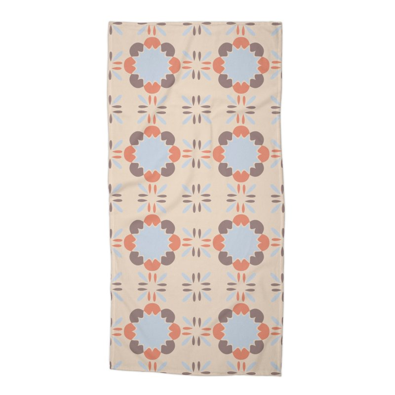 Blue Retro Tile Accessories Beach Towel by Caligráfica