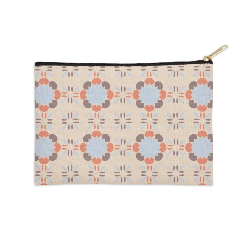 Blue Retro Tile Accessories Zip Pouch by Caligráfica