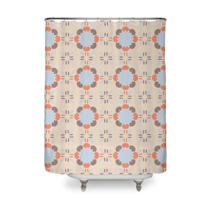Blue Retro Tile Home Shower Curtain by Caligráfica