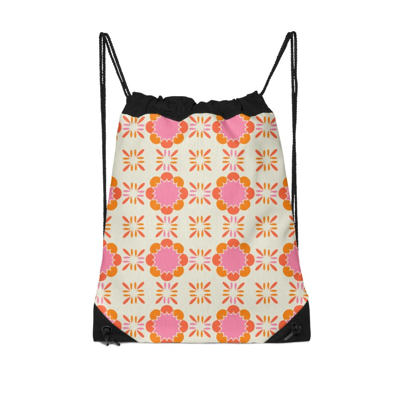 Sixties Tile Accessories Drawstring Bag Bag by Caligráfica