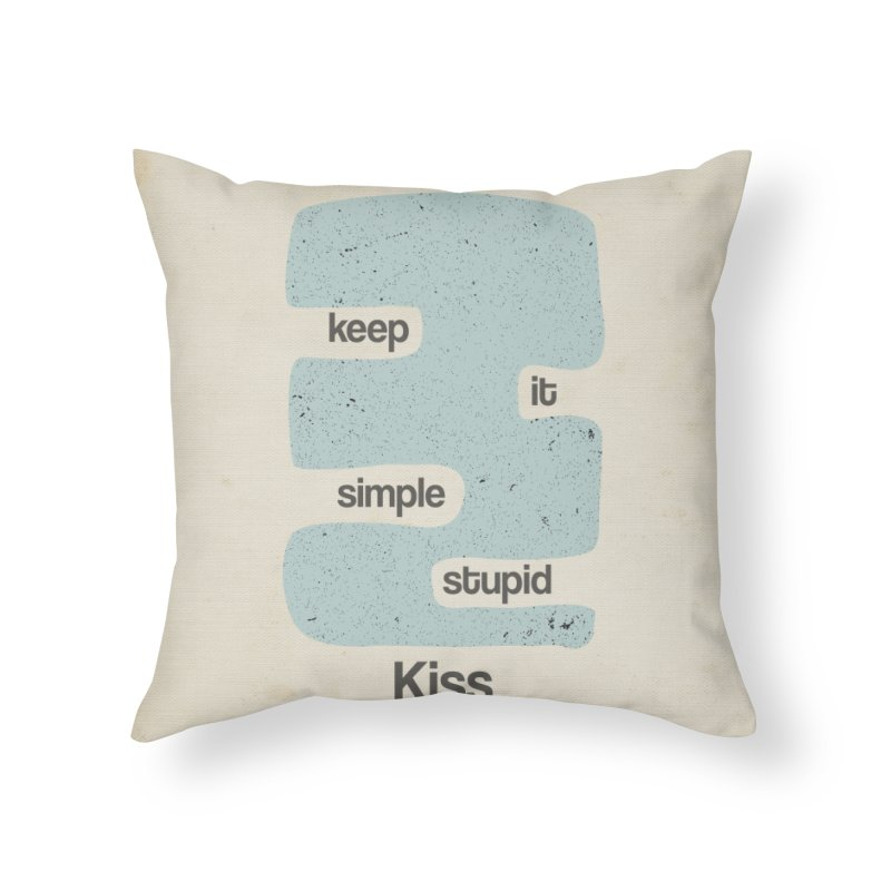 Kiss, Keep it simple - Vintage Blue Home Throw Pillow by Caligráfica