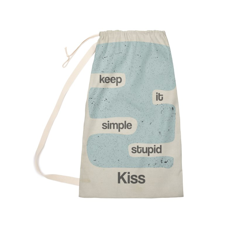 Kiss, Keep it simple - Vintage Blue Accessories Laundry Bag Bag by Caligráfica