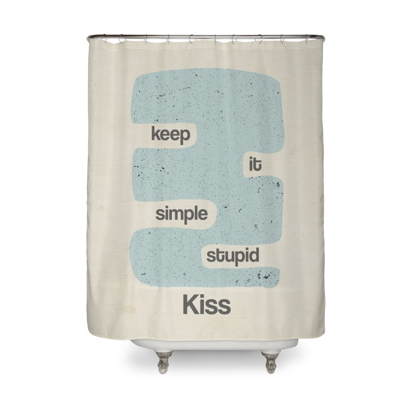 Kiss, Keep it simple - Vintage Blue Home Shower Curtain by Caligráfica