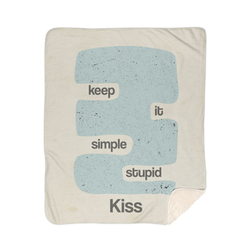 Kiss, Keep it simple - Vintage Blue Home Sherpa Blanket Blanket by Caligráfica