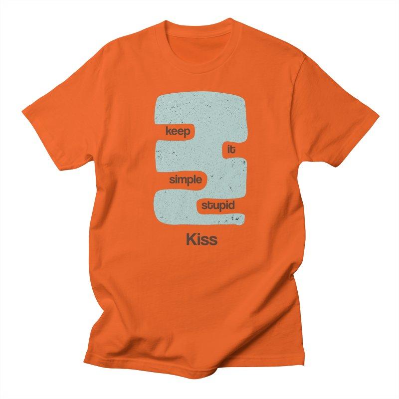 Kiss, Keep it simple - Vintage Blue Men's T-Shirt by Caligráfica