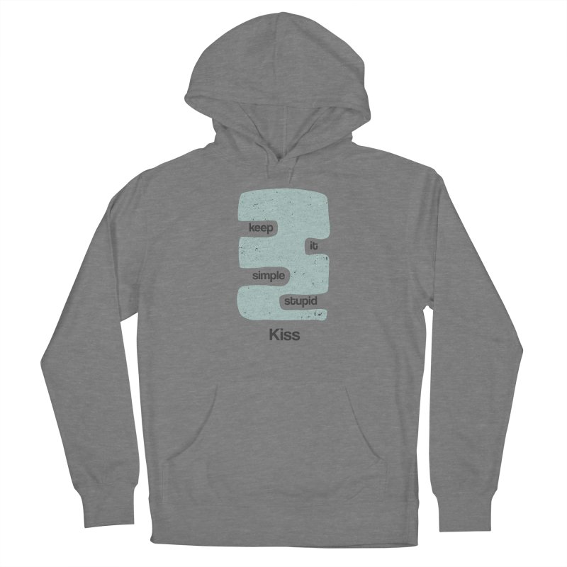 Kiss, Keep it simple - Vintage Blue Men's French Terry Pullover Hoody by Caligráfica