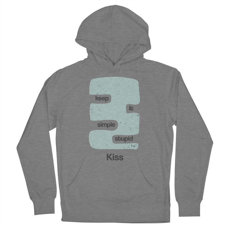 Kiss, Keep it simple - Vintage Blue Women's French Terry Pullover Hoody by Caligráfica