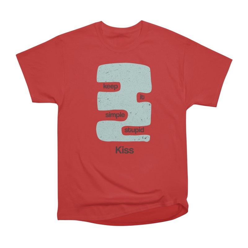 Kiss, Keep it simple - Vintage Blue Women's Heavyweight Unisex T-Shirt by Caligráfica