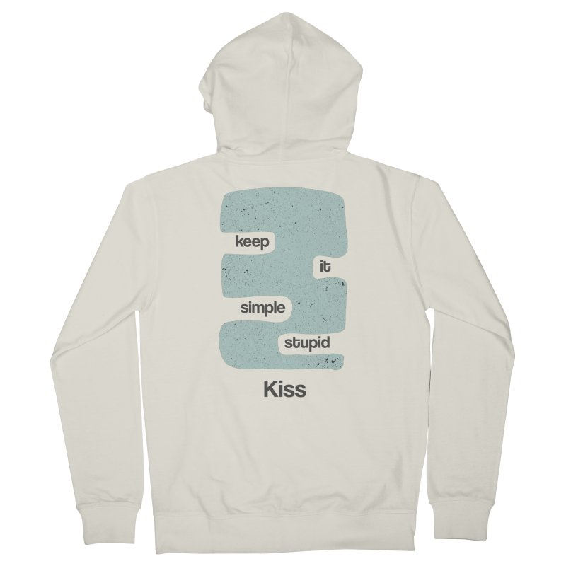 Kiss, Keep it simple - Vintage Blue Women's French Terry Zip-Up Hoody by Caligráfica