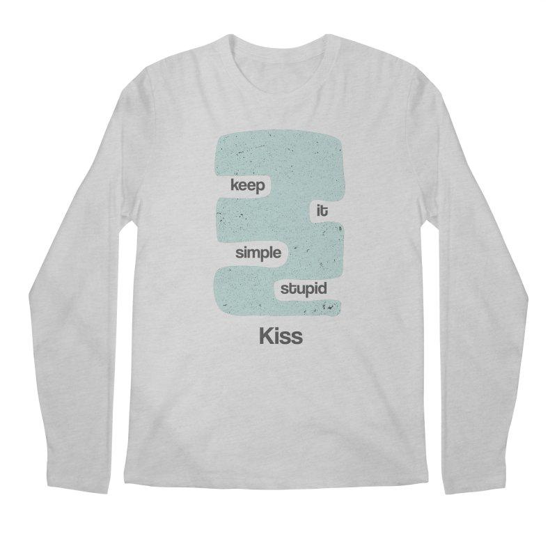 Kiss, Keep it simple - Vintage Blue Men's Regular Longsleeve T-Shirt by Caligráfica