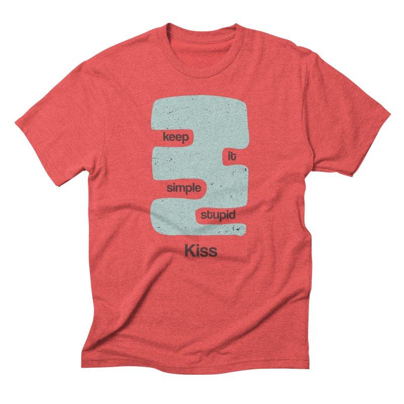 Kiss, Keep it simple - Vintage Blue Men's Triblend T-Shirt by Caligráfica