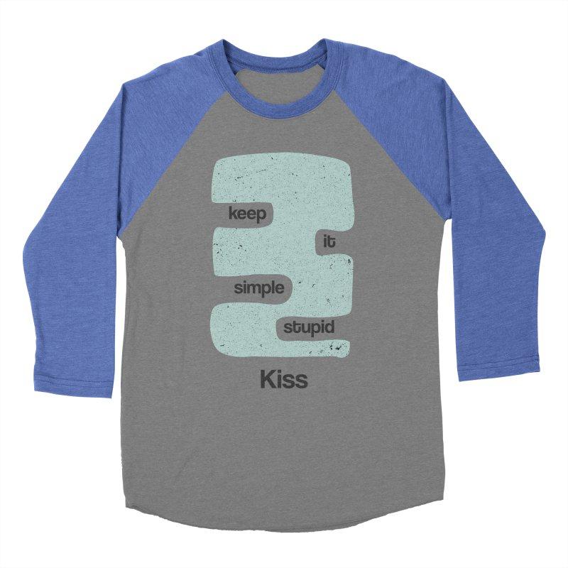 Kiss, Keep it simple - Vintage Blue Men's Baseball Triblend Longsleeve T-Shirt by Caligráfica