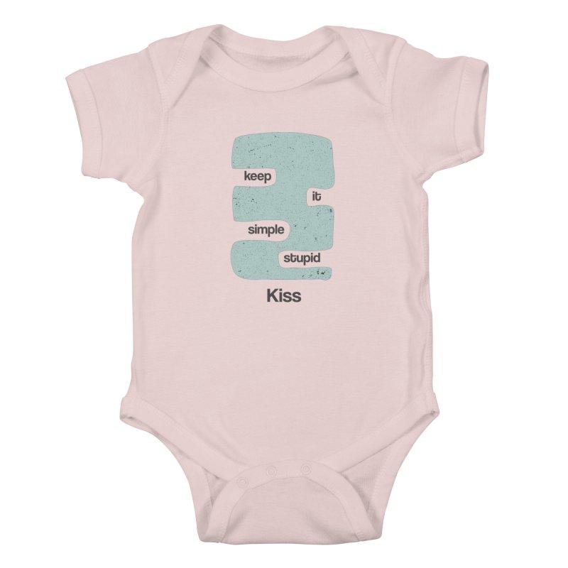 Kiss, Keep it simple - Vintage Blue Kids Baby Bodysuit by Caligráfica