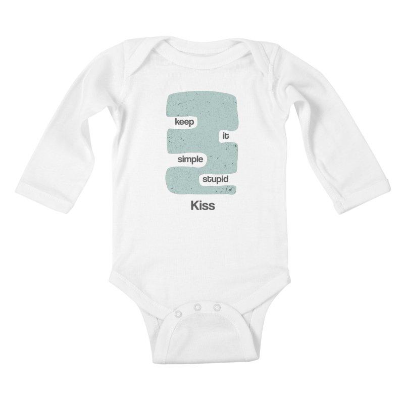 Kiss, Keep it simple - Vintage Blue Kids Baby Longsleeve Bodysuit by Caligráfica