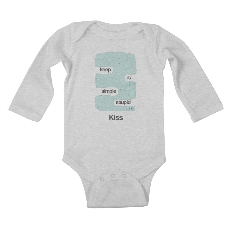 Kiss, Keep it simple - Vintage Blue Kids Baby Longsleeve Bodysuit by Caligráfica