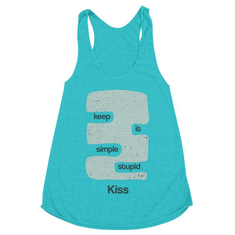 Kiss, Keep it simple - Vintage Blue Women's Racerback Triblend Tank by Caligráfica