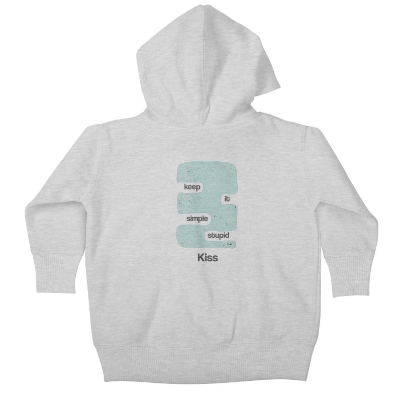 Kiss, Keep it simple - Vintage Blue Kids Baby Zip-Up Hoody by Caligráfica