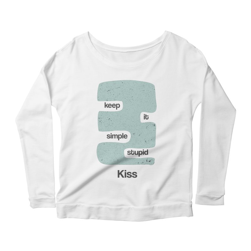 Kiss, Keep it simple - Vintage Blue Women's Scoop Neck Longsleeve T-Shirt by Caligráfica