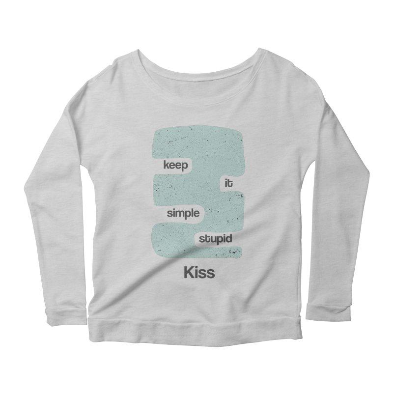 Kiss, Keep it simple - Vintage Blue Women's Scoop Neck Longsleeve T-Shirt by Caligráfica