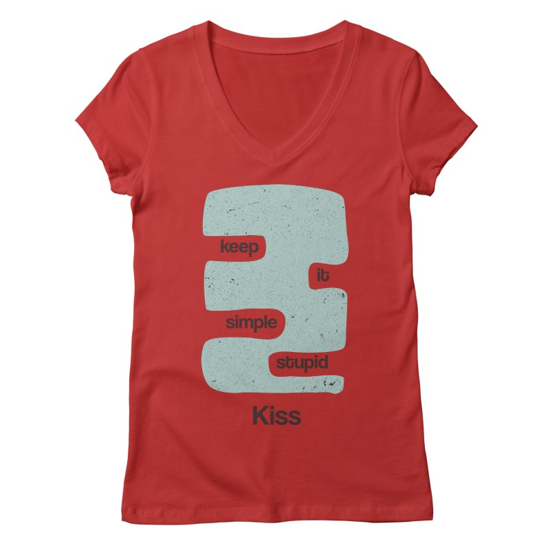 Kiss, Keep it simple - Vintage Blue Women's Regular V-Neck by Caligráfica