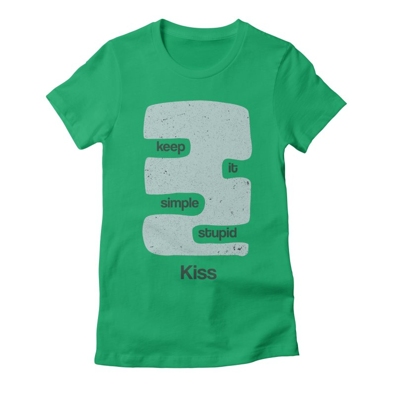 Kiss, Keep it simple - Vintage Blue Women's Fitted T-Shirt by Caligráfica