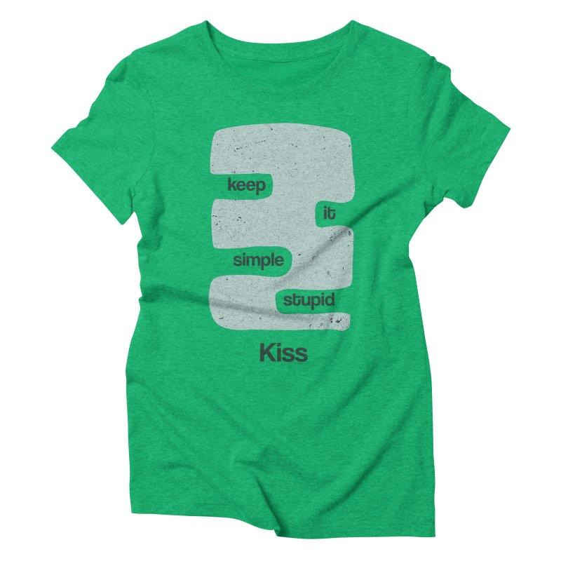 Kiss, Keep it simple - Vintage Blue Women's Triblend T-Shirt by Caligráfica