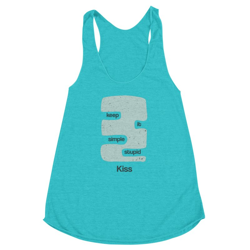 Kiss, Keep it simple - Vintage Blue Women's Racerback Triblend Tank by Caligráfica