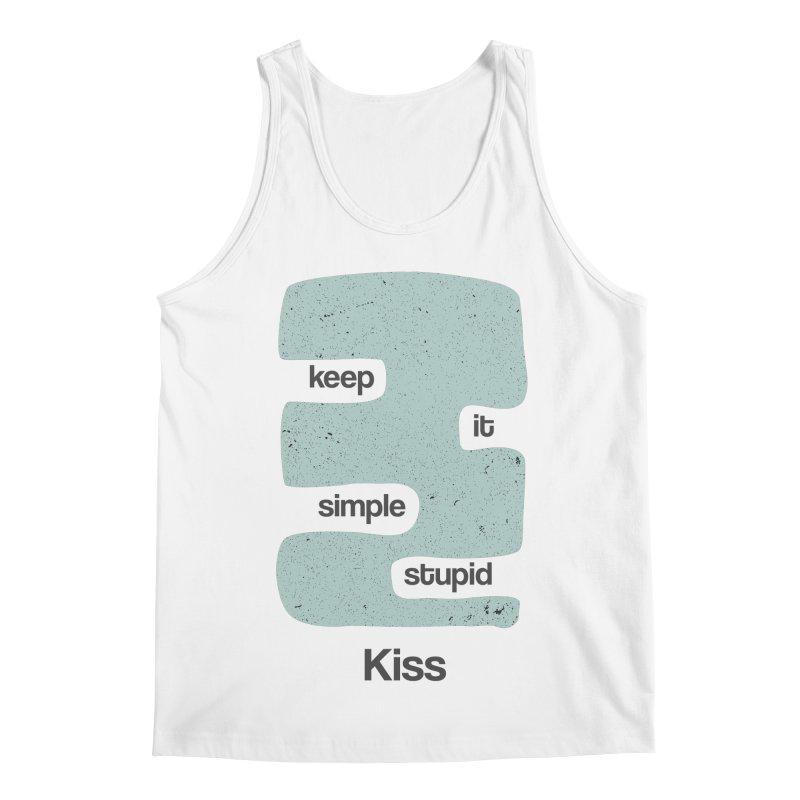 Kiss, Keep it simple - Vintage Blue Men's Regular Tank by Caligráfica