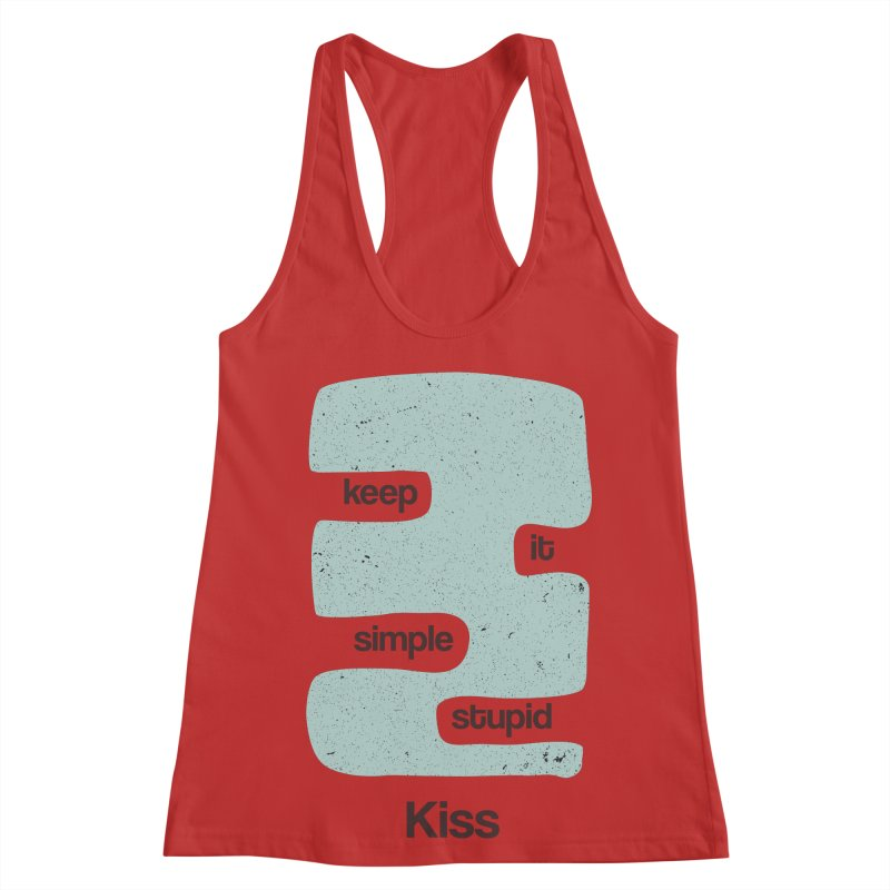 Kiss, Keep it simple - Vintage Blue Women's Racerback Tank by Caligráfica