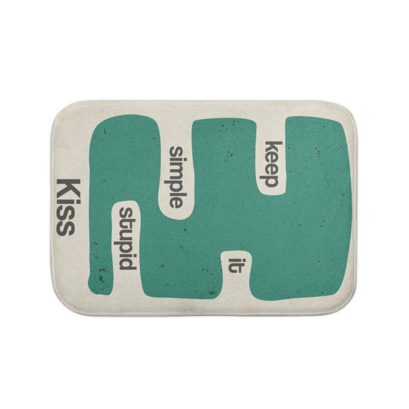 Kiss, Keep it simple stupid - Blue Retro Home Bath Mat by Caligráfica