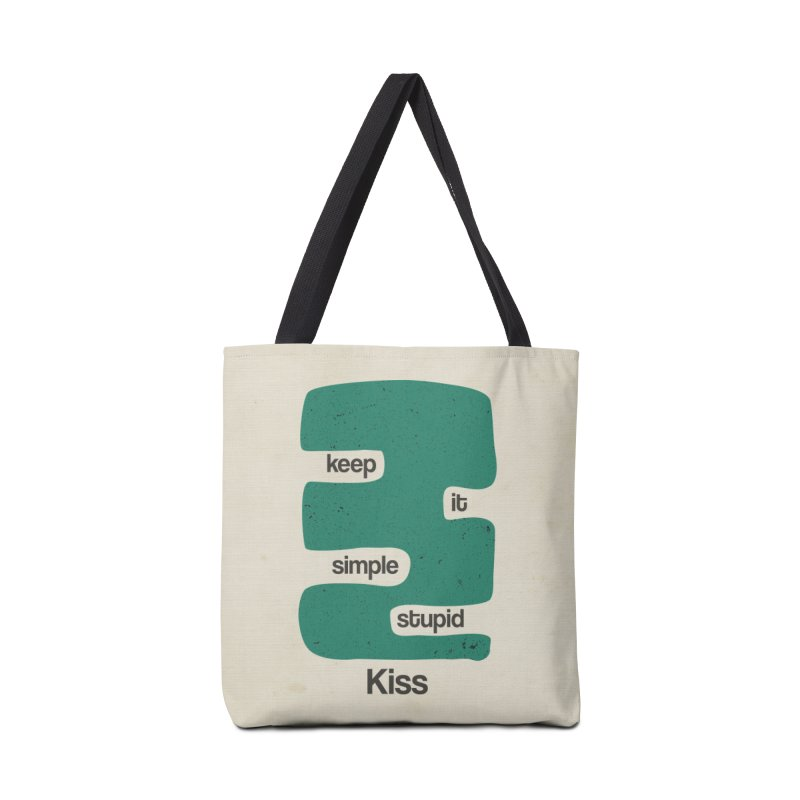 Kiss, Keep it simple stupid - Blue Retro Accessories Tote Bag Bag by Caligráfica
