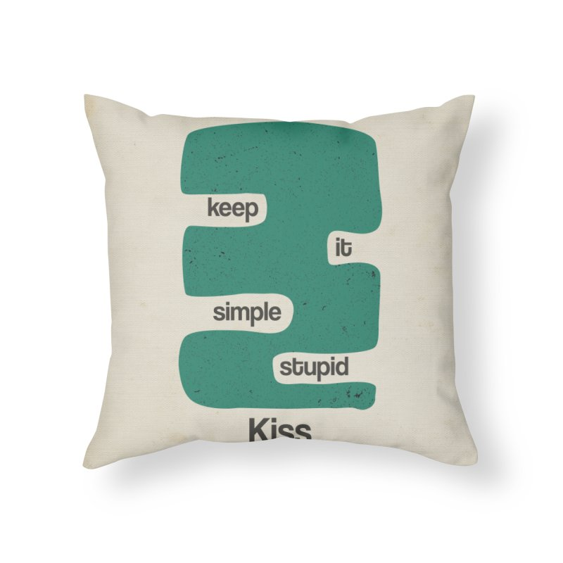 Kiss, Keep it simple stupid - Blue Retro Home Throw Pillow by Caligráfica