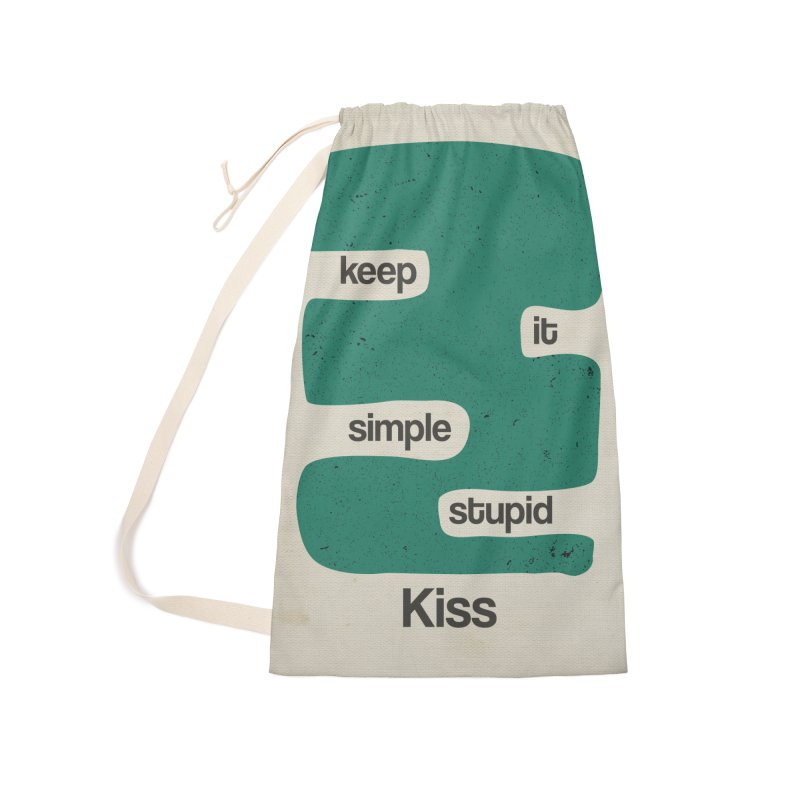 Kiss, Keep it simple stupid - Blue Retro Accessories Laundry Bag Bag by Caligráfica