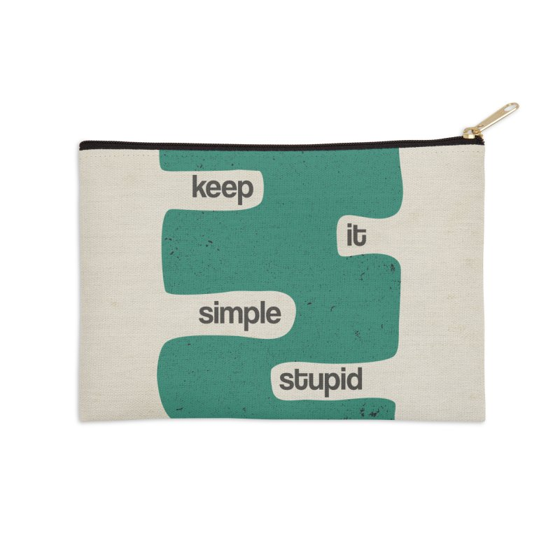 Kiss, Keep it simple stupid - Blue Retro Accessories Zip Pouch by Caligráfica
