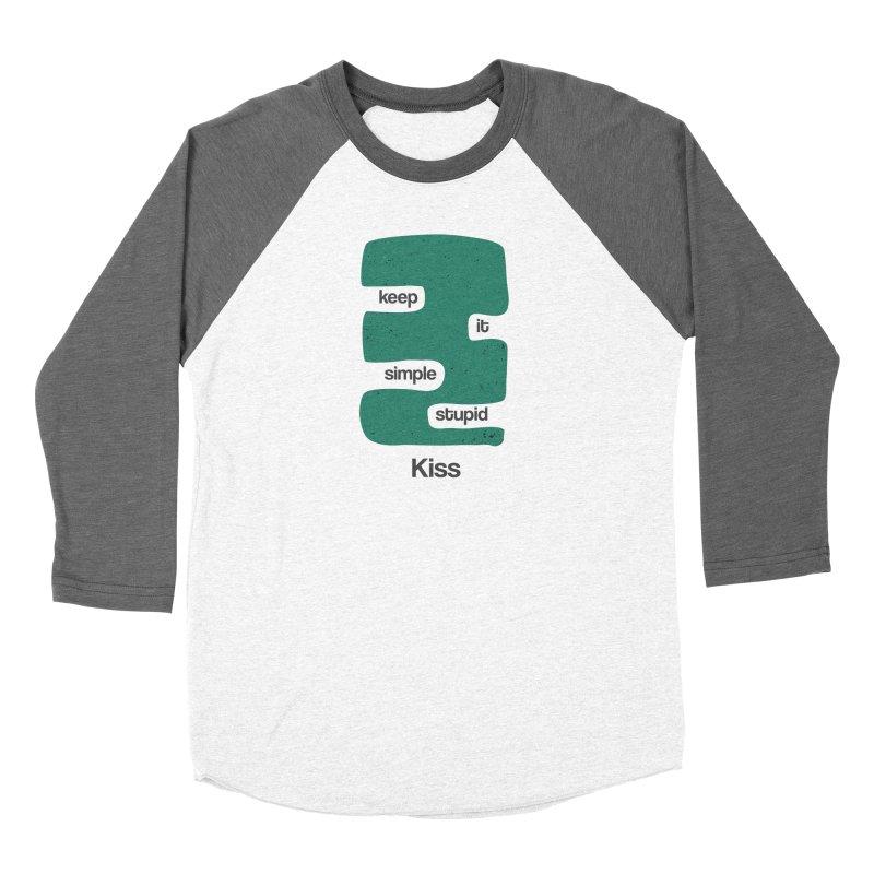Kiss, Keep it simple stupid - Blue Retro Women's Baseball Triblend Longsleeve T-Shirt by Caligráfica