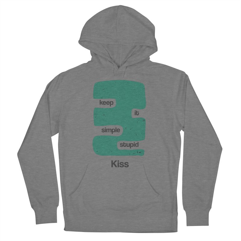 Kiss, Keep it simple stupid - Blue Retro Men's French Terry Pullover Hoody by Caligráfica