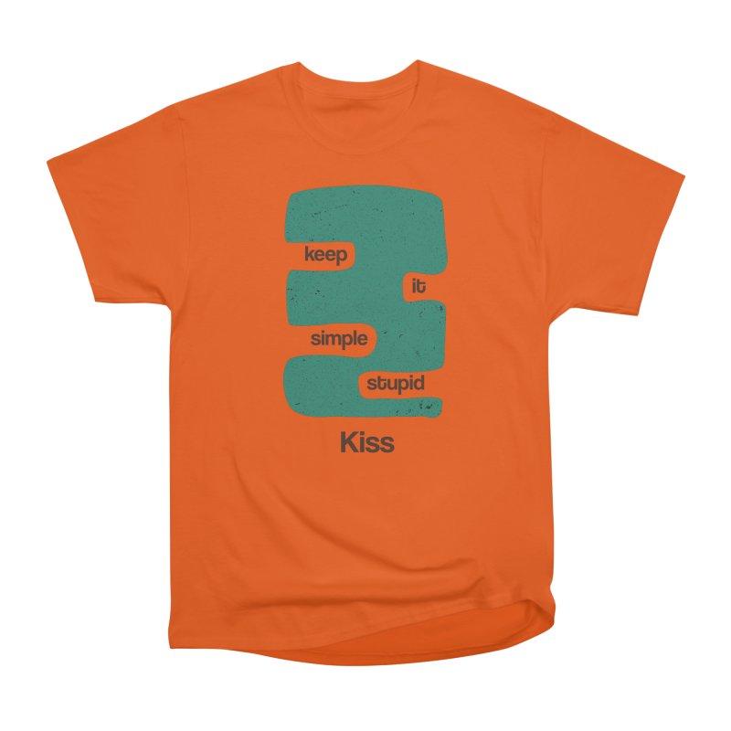 Kiss, Keep it simple stupid - Blue Retro Women's Heavyweight Unisex T-Shirt by Caligráfica