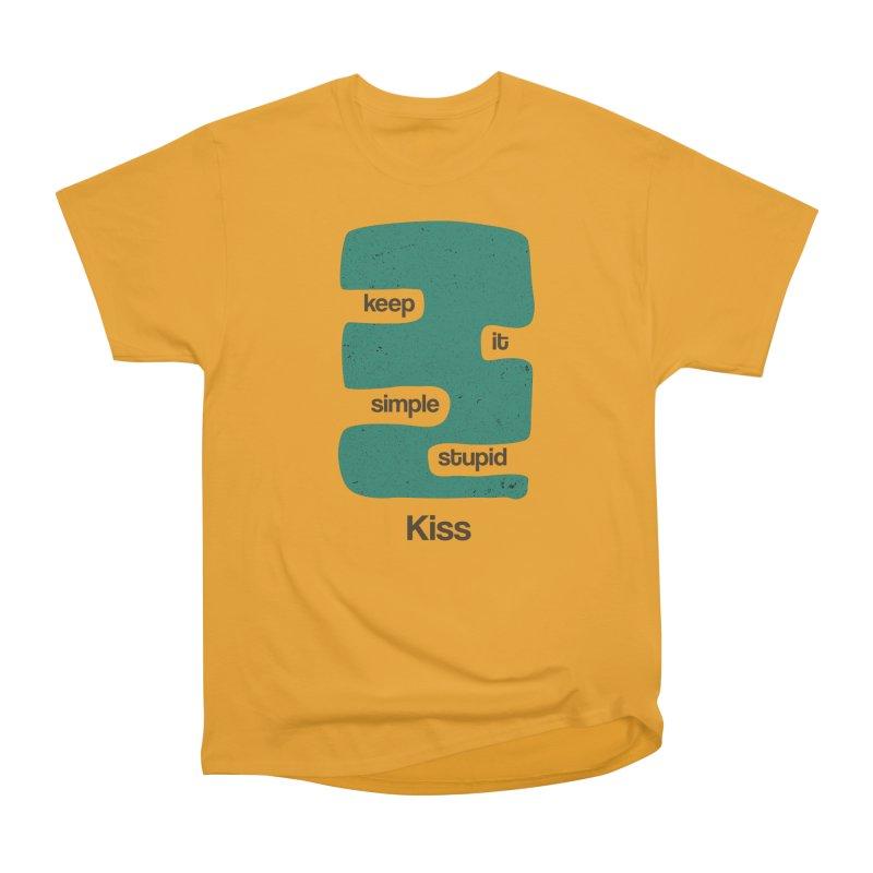 Kiss, Keep it simple stupid - Blue Retro Men's Heavyweight T-Shirt by Caligráfica